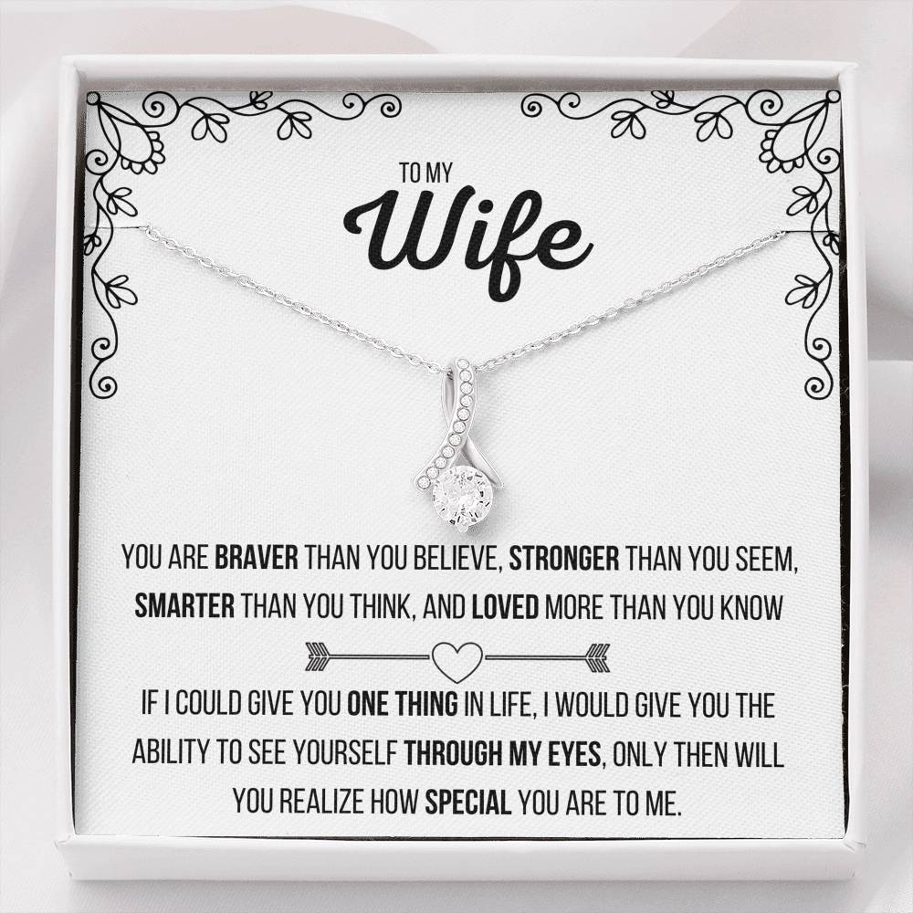 TO MY WIFE ALLURING BEAUTY NECKLACE | MESSAGE CARD | GIFT BOX - ON CLOUD NINE GIFTS