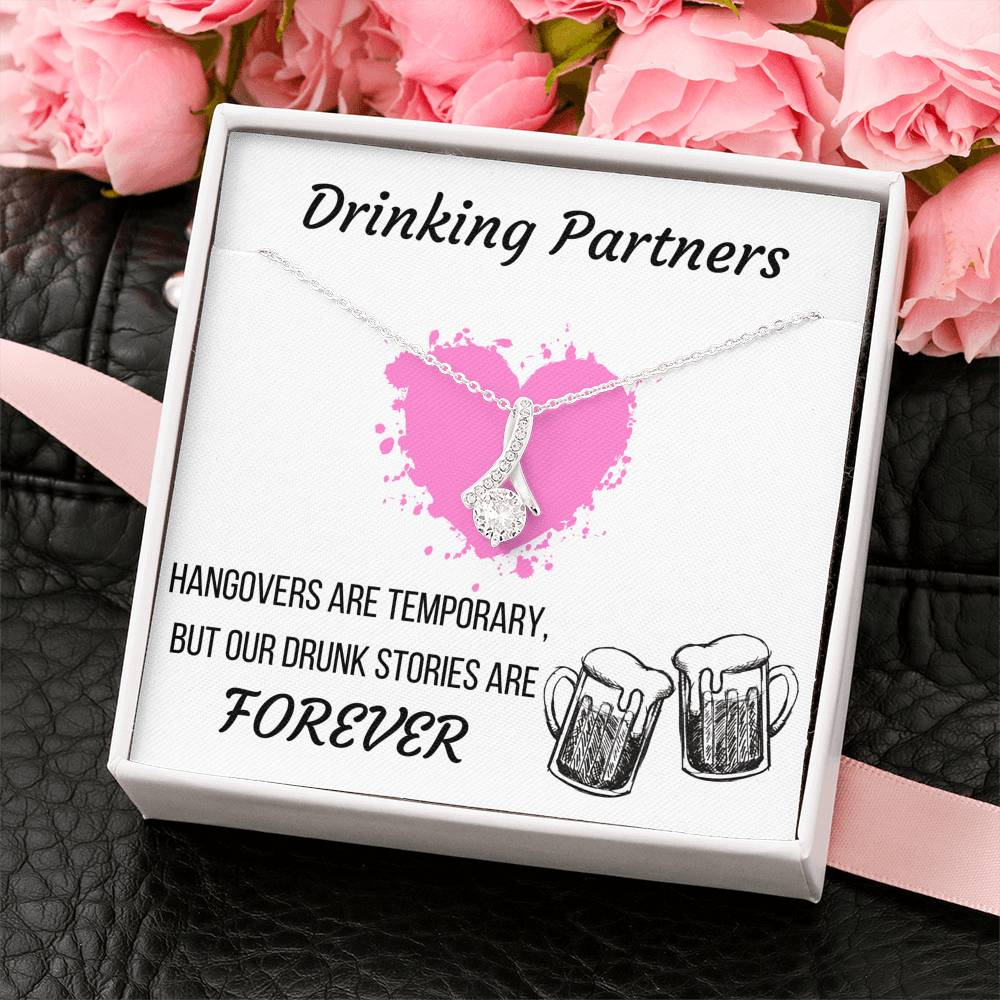 DRINKING PARTNERS ALLURING BEAUTY NECKLACE | MESSAGE CARD | GIFT BOX - ON CLOUD NINE GIFTS