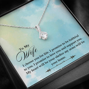 "TO MY WIFE ""SHELTER- SO"" ALLURING BEAUTY NECKLACE GIFT SET - ON CLOUD NINE GIFTS"