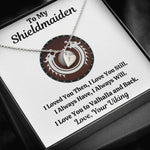 "TO MY SHIELDMAIDEN ""ALWAYS WILL - RED"" CUSTOM NAME INITIALS ENGRAVING HEARTS NECKLACE GIFT SET - ON CLOUD NINE GIFTS"