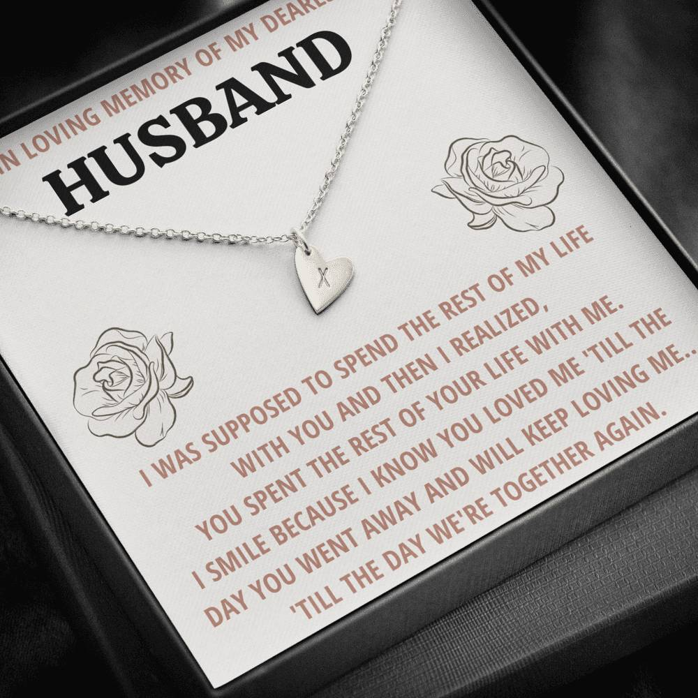 "TO MY HUSBAND ""LIFE"" REMEMBRANCE CUSTOM NAME INITIALS ENGRAVING HEARTS NECKLACE GIFT SET - ON CLOUD NINE GIFTS"