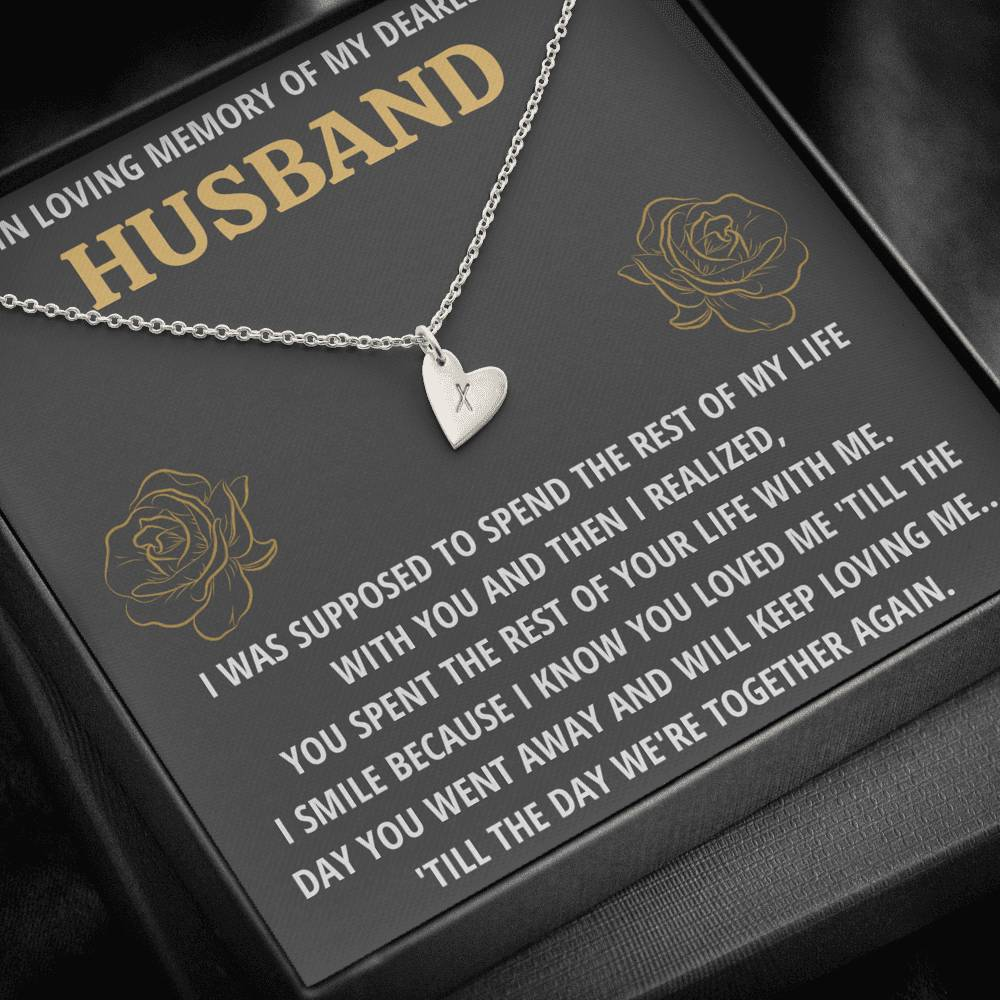 "TO MY HUSBAND ""LIFE - GOLDEN"" REMEMBRANCE CUSTOM NAME INITIALS ENGRAVING HEARTS NECKLACE GIFT SET - ON CLOUD NINE GIFTS"