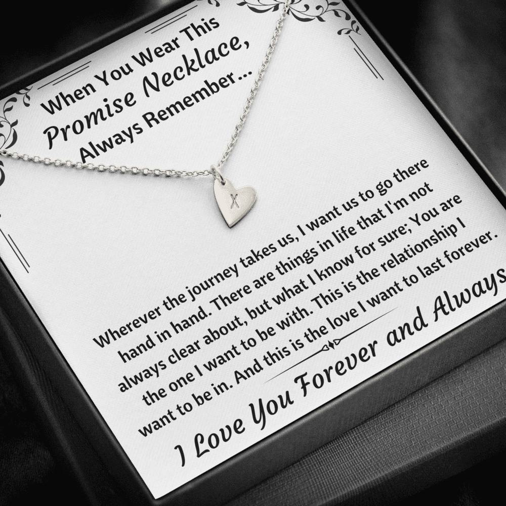 "TO MY LOVE ""PROMISE NECKLACE"" CUSTOM NAME INITIALS ENGRAVING HEARTS NECKLACE GIFT SET - ON CLOUD NINE GIFTS"