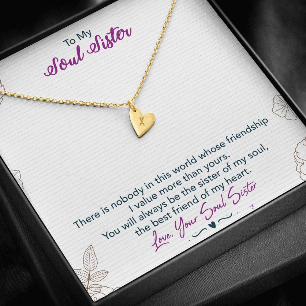"TO MY SOUL SISTER ""THIS WORLD - SO"" CUSTOM NAME INITIALS ENGRAVING HEARTS NECKLACE GIFT SET - ON CLOUD NINE GIFTS"