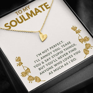 "TO MY SOULMATE ""TEASE YOU"" CUSTOM NAME INITIALS ENGRAVING HEARTS NECKLACE GIFT SET - ON CLOUD NINE GIFTS"