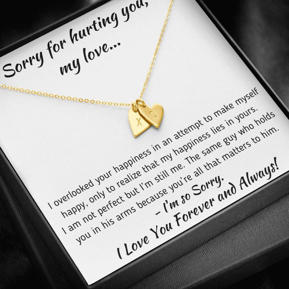 "TO MY LOVE ""HAPPINESS"" APOLOGY GIFT SET CUSTOM NAME INITIALS ENGRAVING HEARTS NECKLACE GIFT SET - ON CLOUD NINE GIFTS"