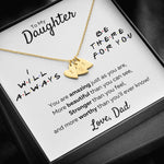 "TO MY DAUGHTER FROM DAD ""THERE FOR YOU - AMAZING JUST AS YOU ARE"" CUSTOM NAME INITIALS ENGRAVING HEARTS NECKLACE GIFT SET - ON CLOUD NINE GIFTS"