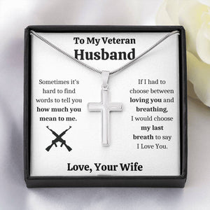 "TO MY VETERAN HUSBAND ""BREATHING"" CROSS NECKLACE GIFT SET - ON CLOUD NINE GIFTS"