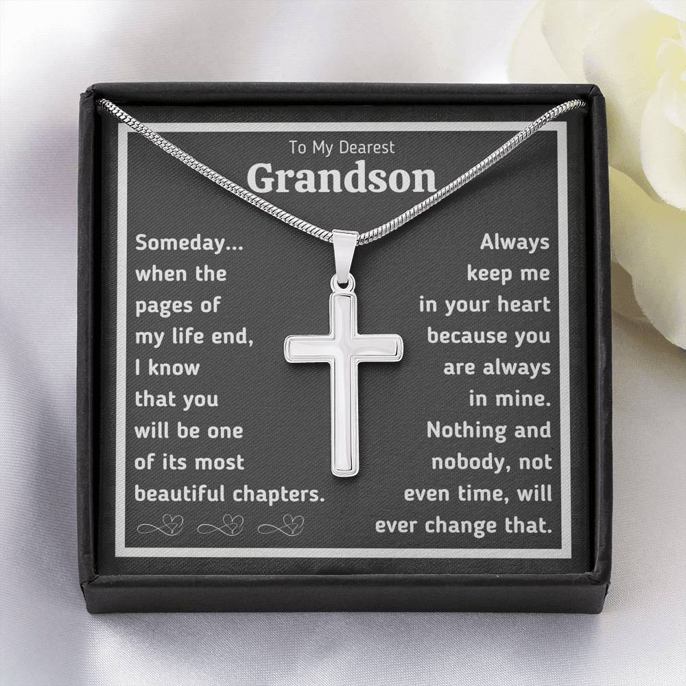 "TO MY DEAREST GRANDSON ""BEAUTIFUL CHAPTERS"" ARTISAN CRAFTED CROSS NECKLACE GIFT SET - ON CLOUD NINE GIFTS"