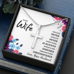 "TO MY WIFE ""OUR LOVE"" ARTISAN CROSS NECKLACE GIFT SET - ON CLOUD NINE GIFTS"