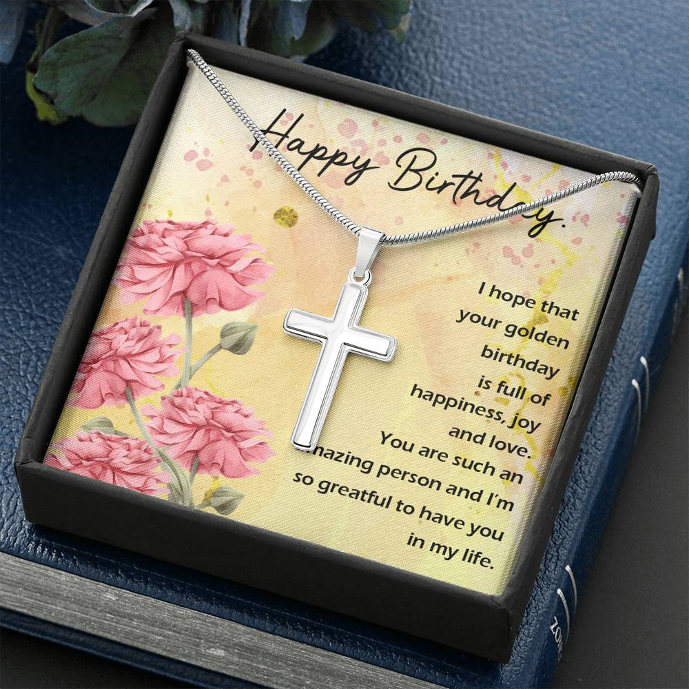 "HAPPY BIRTHDAY ""GOLDEN"" CROSS NECKLACE GIFT SET - ON CLOUD NINE GIFTS"