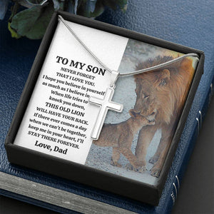 "TO MY SON ""THIS OLD LION"" CROSS NECKLACE GIFT SET - ON CLOUD NINE GIFTS"