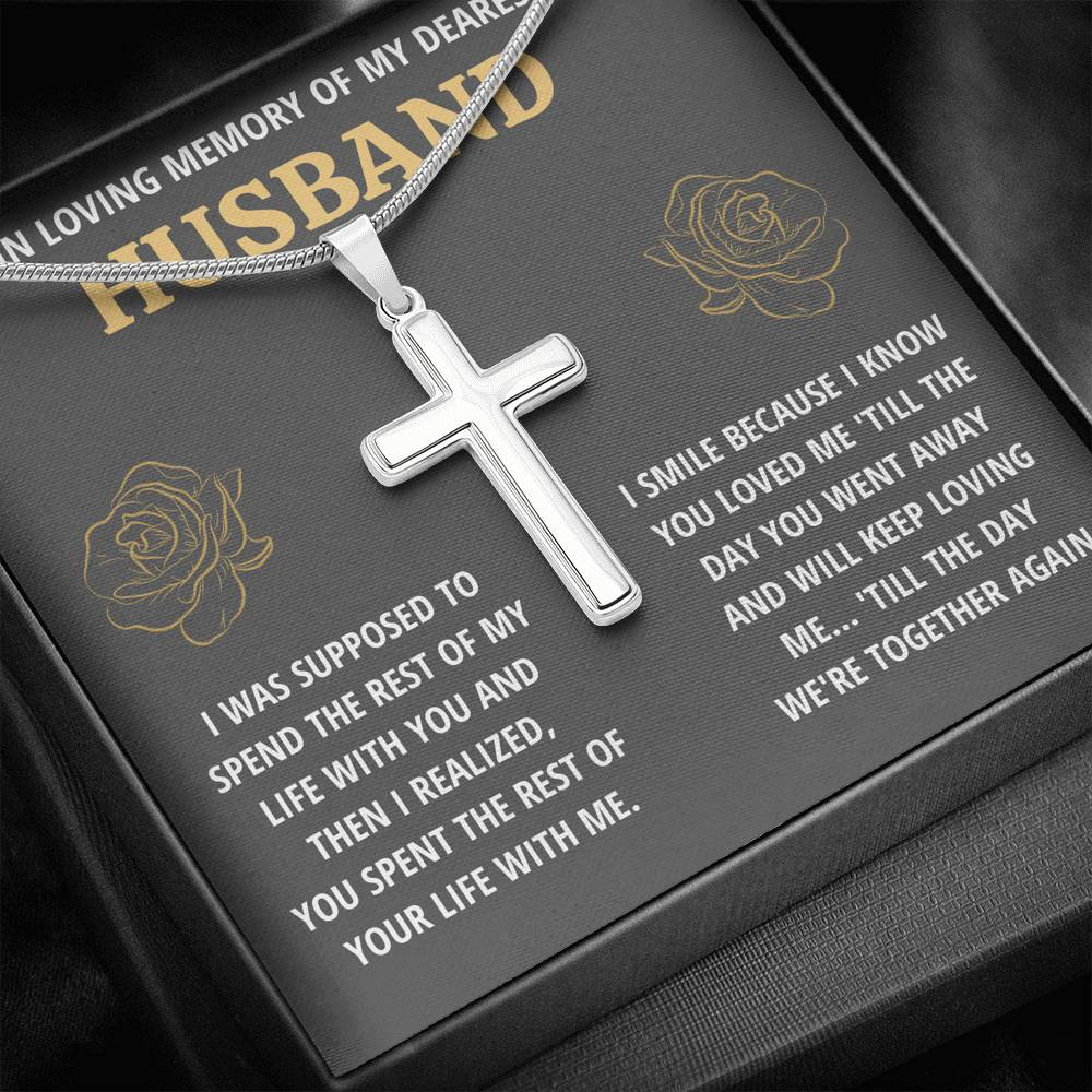 IN LOVING MEMORY OF MY DEAREST HUSBAND REMEMBRANCE CROSS NECKLACE GIFT SET - ON CLOUD NINE GIFTS