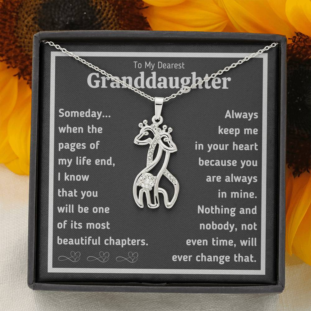 "TO MY DEAREST GRANDDAUGHTER ""BEAUTIFUL CHAPTERS"" GIRAFEE NECKLACE GIFT SET - ON CLOUD NINE GIFTS"