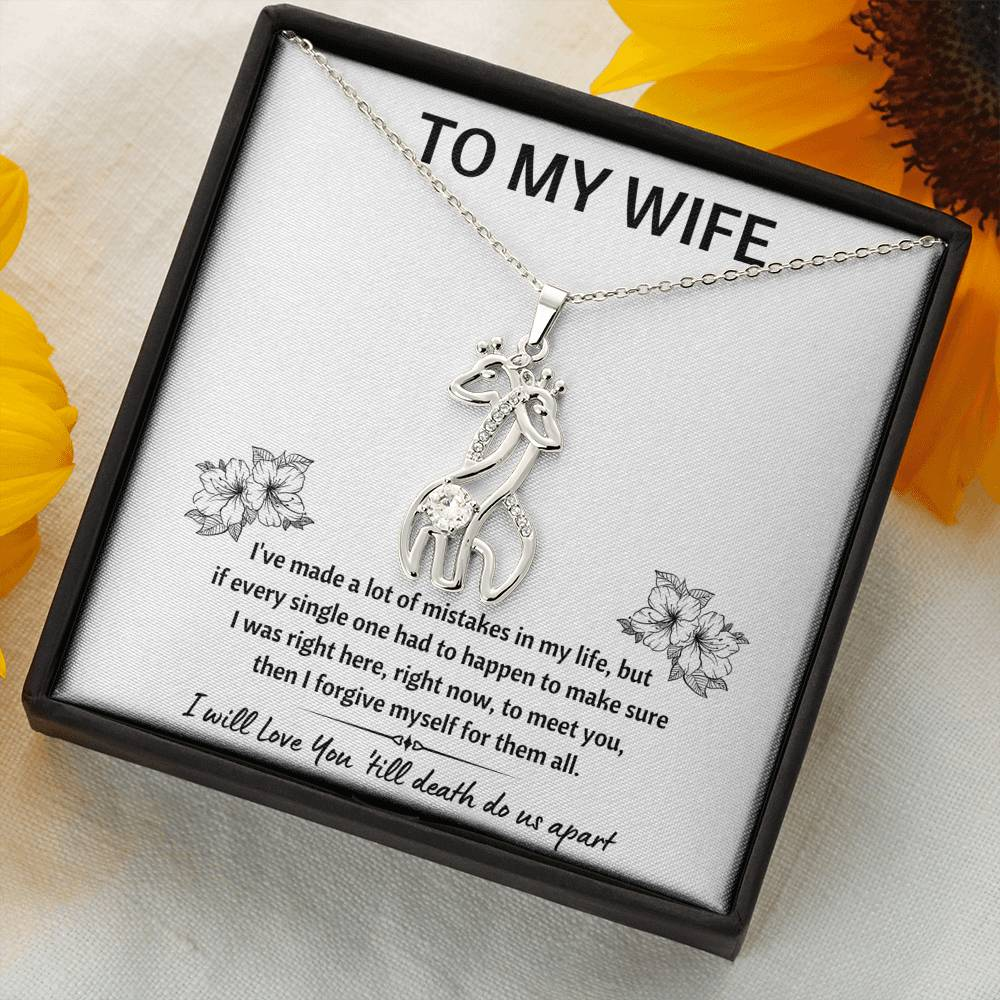 "TO MY WIFE ""MISTAKES"" GIRAFFE NECKLACE GIFT SET - ON CLOUD NINE GIFTS"