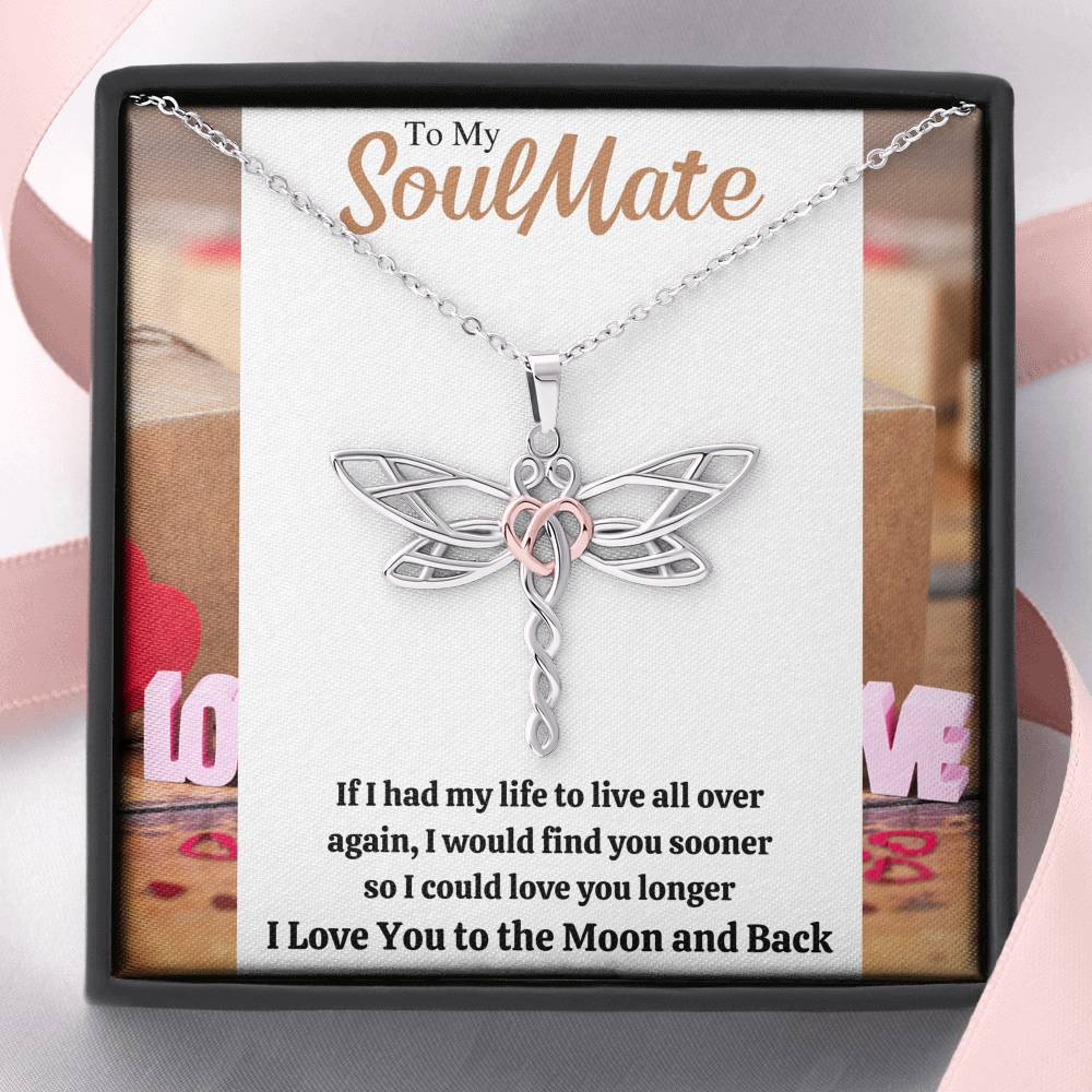 "TO MY SOULMATE ""LOVE YOU LONGER"" DRAGONFLY NECKLACE GIFT SET - ON CLOUD NINE GIFTS"