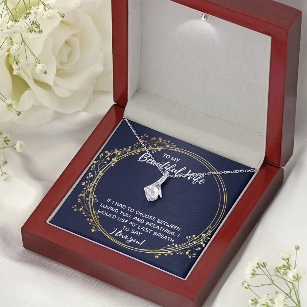 "TO MY BEAUTIFUL WIFE ""BREATHING"" ALLURING BEAUTY NECKLACE GIFT SET - ON CLOUD NINE GIFTS"