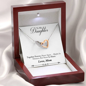 "TO MY DAUGHTER ""NEVER IN HEART - SO"" INTERLOCKING HEARTS NECKLACE GIFT SET - ON CLOUD NINE GIFTS"