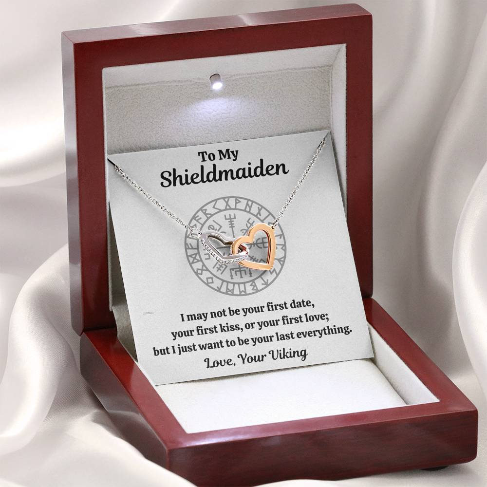 "TO MY SHIELDMAIDEN ""LAST EVERYTHING"" INTERLOCKING HEARTS HEARTS NECKLACE GIFT SET - ON CLOUD NINE GIFTS"