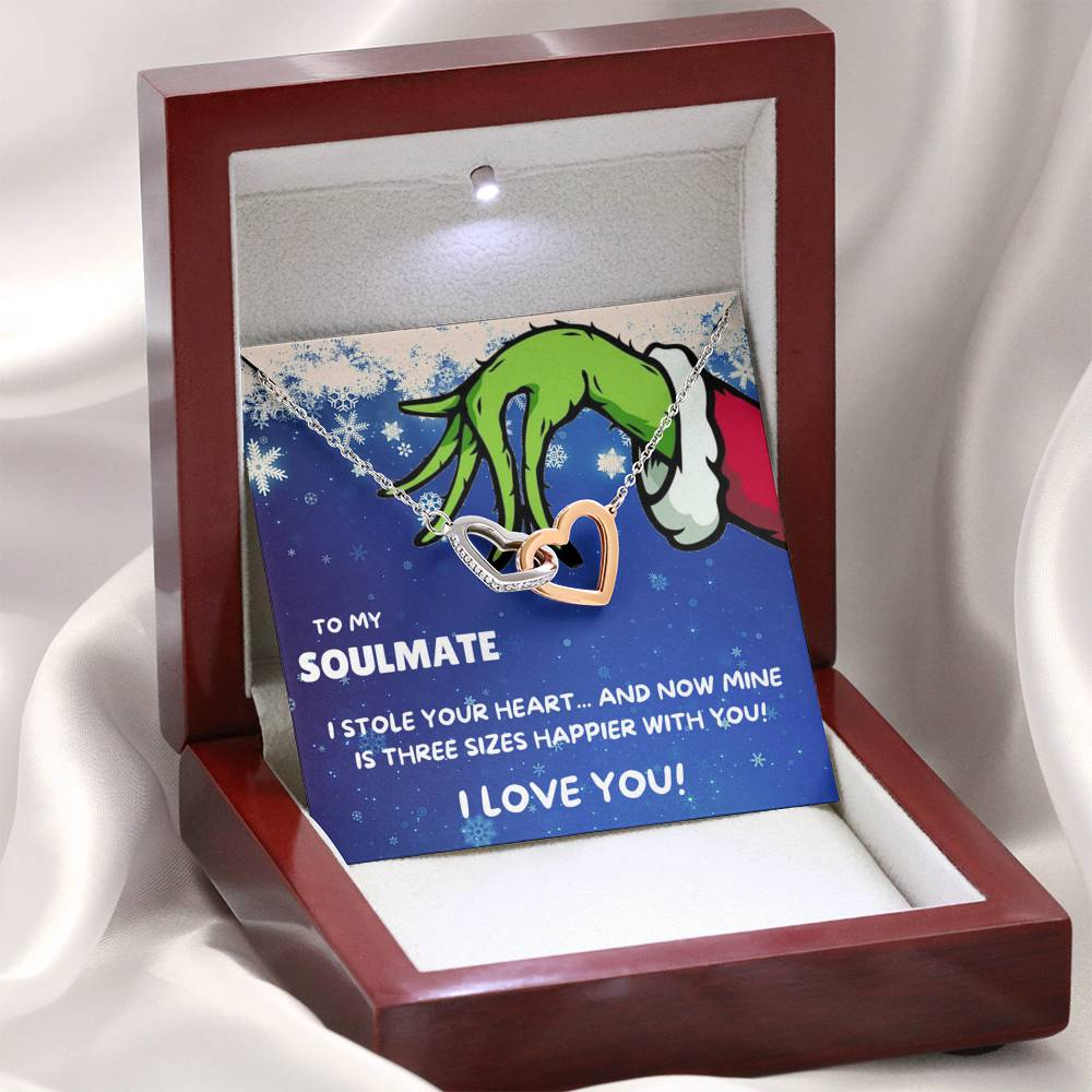 "TO MY SOULMATE ""THREE SIZES HAPPIER"" INTERLOCKING HEARTS NECKLACE GIFT SET - ON CLOUD NINE GIFTS"