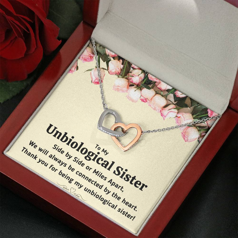 "TO MY UNBIOLOGICAL SISTER ""CONNECTED BY THE HEART"" INTERLOCKING HEARTS NECKLACE GIFT SET - ON CLOUD NINE GIFTS"