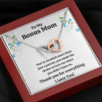 "TO MY BONUS MOM ""CHOICE TO LOVE ME"" INTERLOCKING HEARTS NECKLACE GIFT SET - ON CLOUD NINE GIFTS"