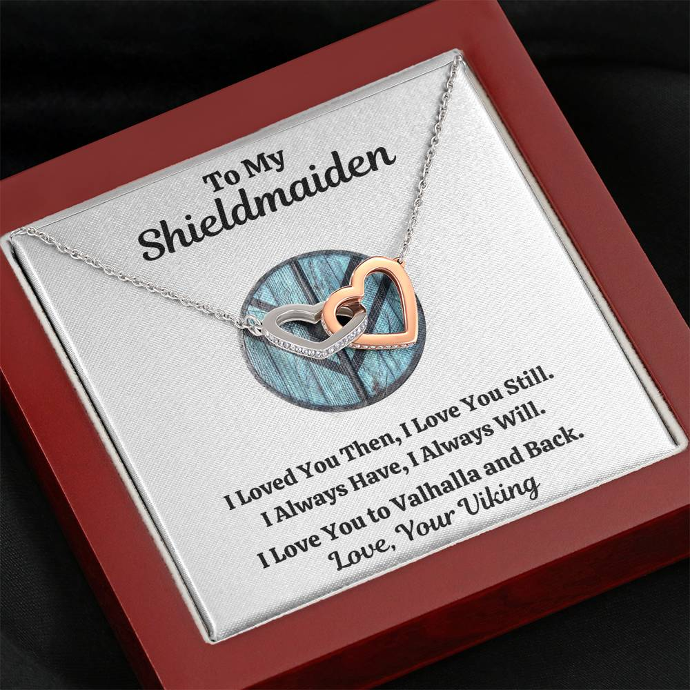 "TO MY SHIELDMAIDEN ""ALWAYS WILL - BLUE"" INTERLOCKING HEARTS NECKLACE GIFT SET - ON CLOUD NINE GIFTS"