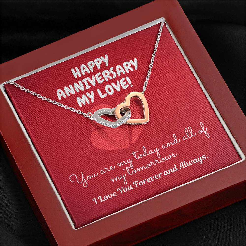 "TO MY LOVE ""TOMORROW"" INTERLOCKING HEARTS NECKLACE ANNYVERSARY GIFT SET - ON CLOUD NINE GIFTS"