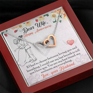 "DEAR WIFE ""BREATHING"" INTERLOCKING HEARTS NECKLACE ANNIVERSARY GIFT SET - ON CLOUD NINE GIFTS"