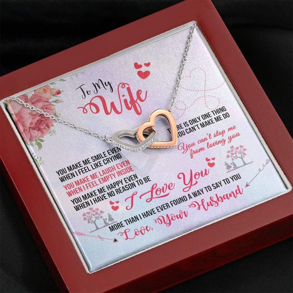 "TO MY WIFE ""EVEN WHEN"" INTERLOCKING HEARTS NECKLACE GIFT SET - ON CLOUD NINE GIFTS"