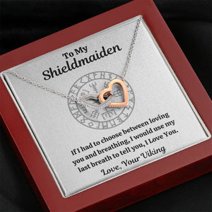 "TO MY SHIELDMAIDEN ""BREATHING"" INTERLOCKING HEARTS NECKLACE GIFT SET - ON CLOUD NINE GIFTS"