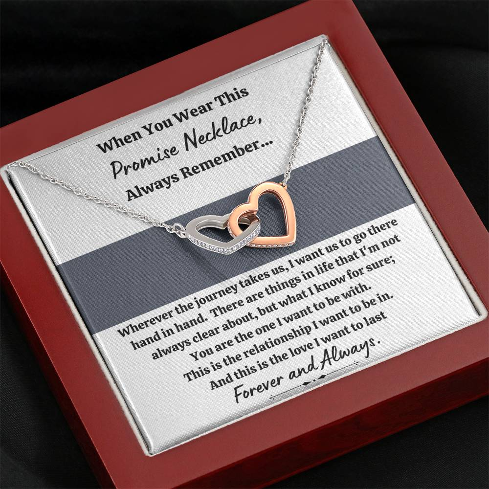 "TO MY LOVE ""PROMISE NECKLACE - GREY"" INTERLOCKING HEARTS NECKLACE GIFT SET - ON CLOUD NINE GIFTS"
