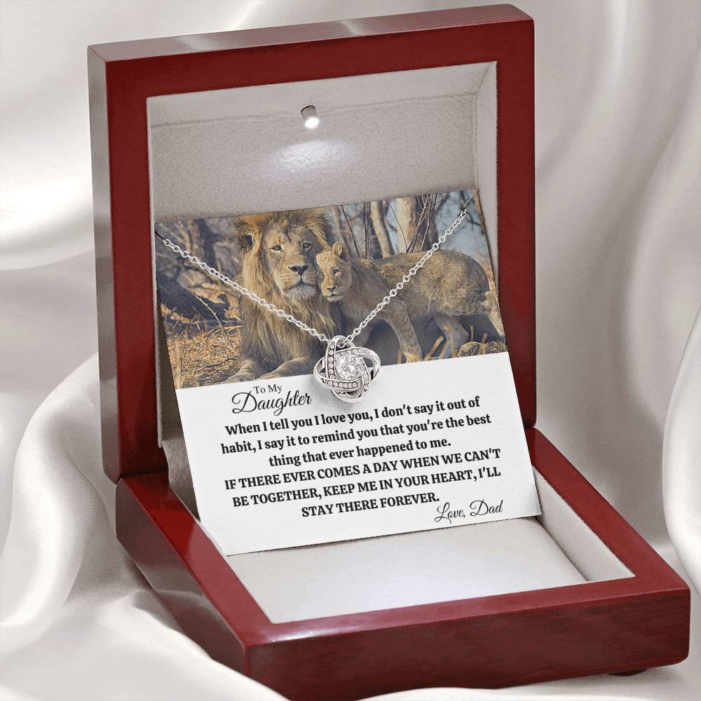 "TO MY DAUGHTER ""OUT OF HABIT - LION"" LOVE KNOT NECKLACE GIFT SET - ON CLOUD NINE GIFTS"