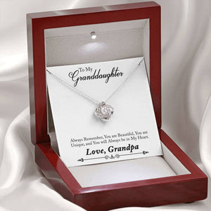 "TO MY GRANDDAUGHTER ""ALWAYS REMEMBER - SO"" LOVE KNOT NECKLACE GIFT SET - ON CLOUD NINE GIFTS"