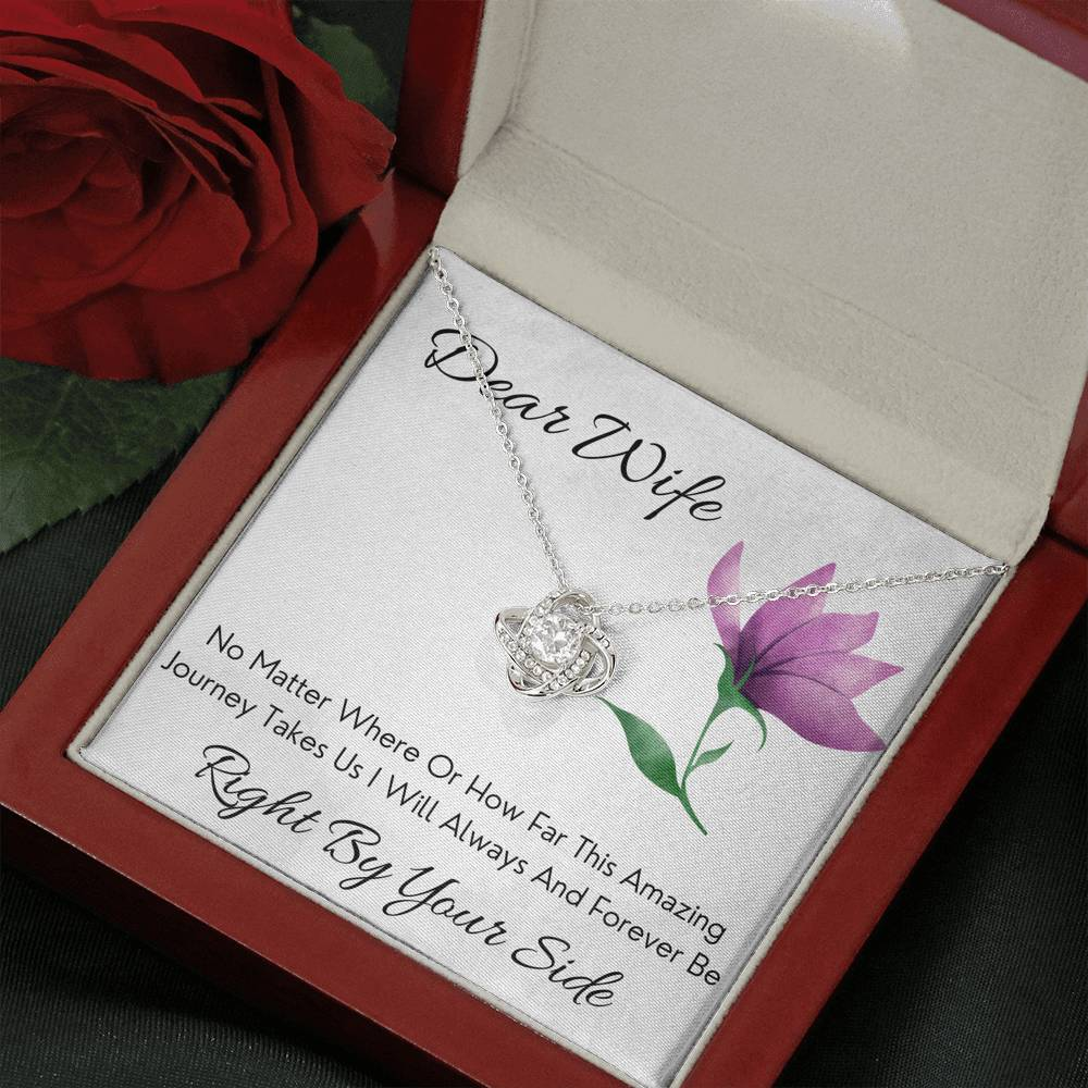 "DEAR WIFE ""BY YOUR SIDE"" LOVE KNOT NECKLACE GIFT SET - ON CLOUD NINE GIFTS"