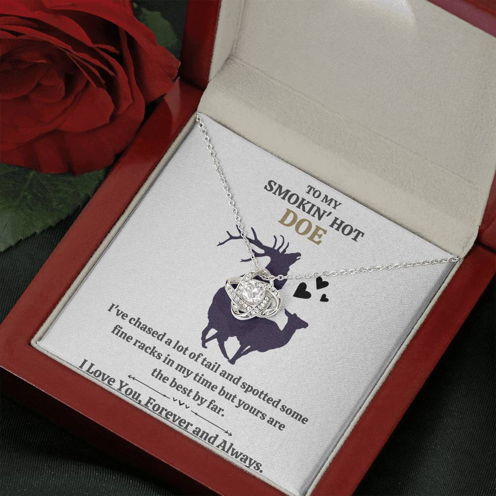 "TO MY SMOKIN HOT DOE ""TAIL - GOLDEN"" LOVE KNOT NECKLACE GIFT SET - ON CLOUD NINE GIFTS"
