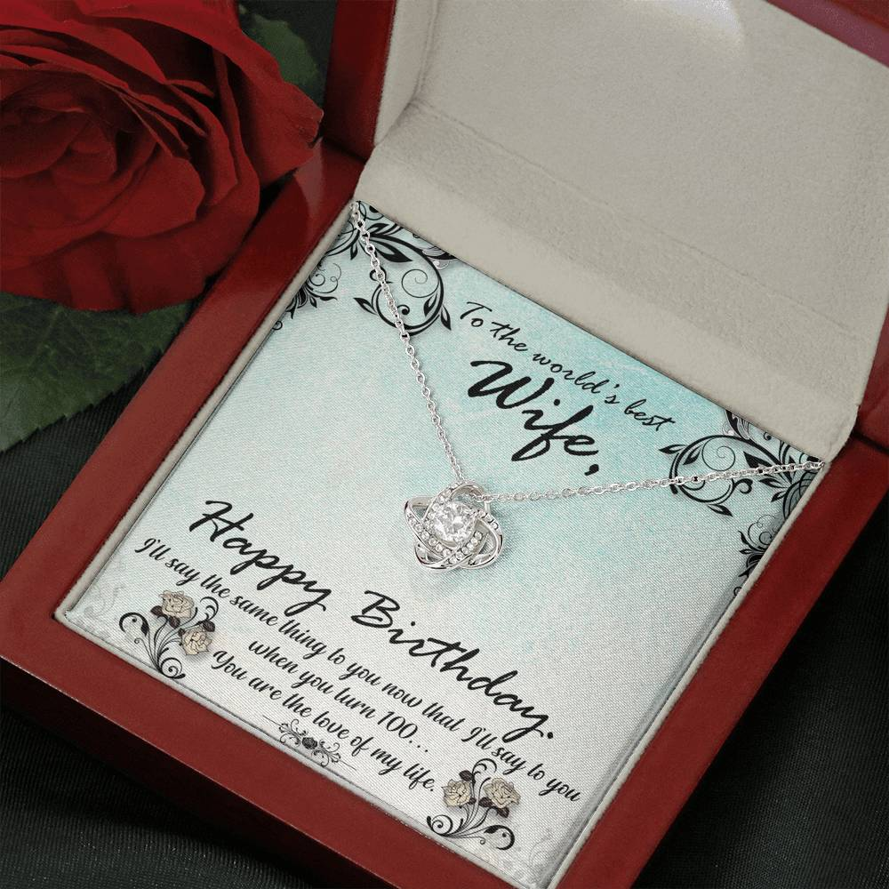 "TO MY WIFE ""HUNDRED"" LOVE KNOT NECKLACE GIFT SET - ON CLOUD NINE GIFTS"