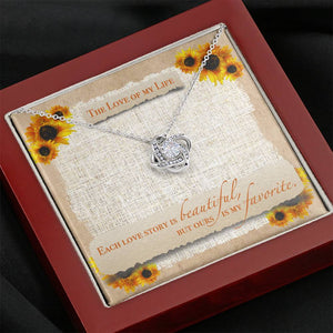 "TO THE LOVE OF MY LIFE ""SUNFLOWER"" LOVE KNOT NECKLACE GIFT SET - ON CLOUD NINE GIFTS"