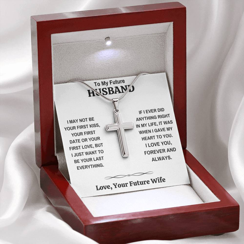 "TO MY FUTURE HUSBAND ""MY HEART"" CROSS NECKLACE GIFT SET - ON CLOUD NINE GIFTS"