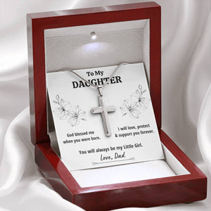 "TO MY DAUGHTER FROM DAD ""LITTLE GIRL"" CROSS NECKLACE GIFT SET - ON CLOUD NINE GIFTS"