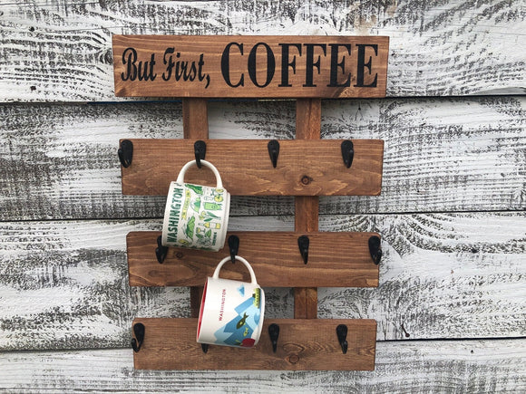 But First Coffee Cup older, Rustic Coffee Mug Rack, Starbucks You are Here and Been There Mug Rack