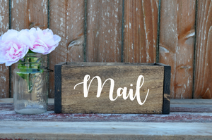 Home Office Organizer - Mail Holder - Mail Organizer - Rustic Mail Holder - Wood Mail Holder - Housewarming Gift - Personalized Gift - Rustic Office - Storage Box