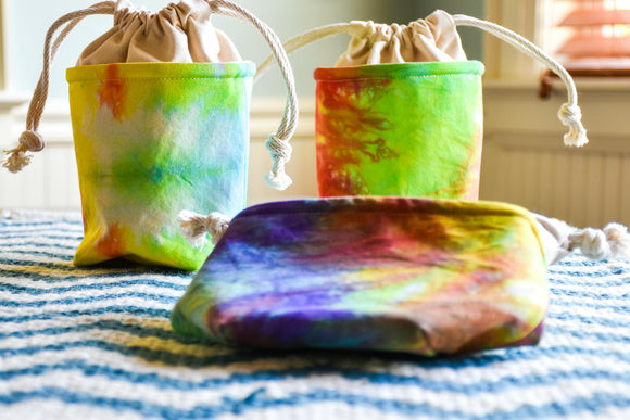 Mini Drawstring Yarn Bowl - Tie Dyed