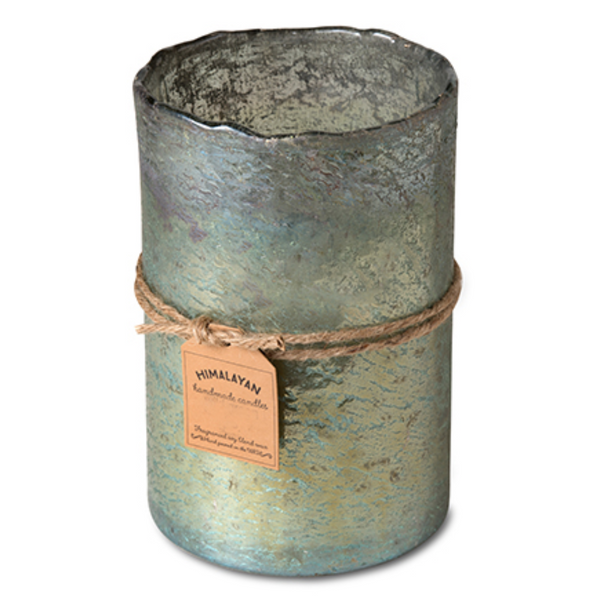 Large Mossy Green Hurricane Candle