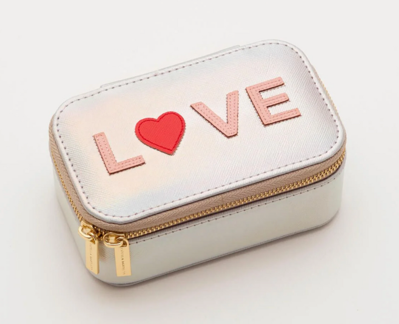 Love Appliqué Mini Iridescent Jewelry Box