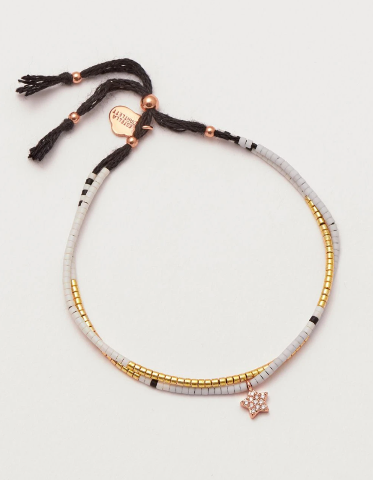 Rose Gold Beaded Friendship Bracelet - Star
