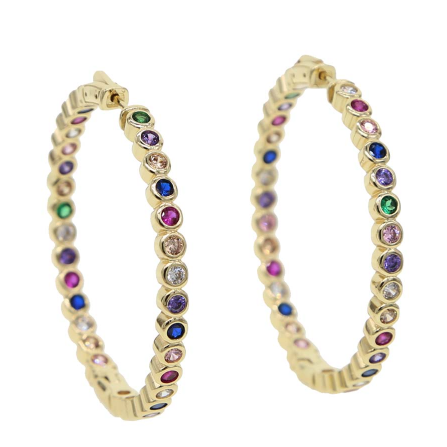 Bezel Set Rainbow CZ Hoops-Accessory Concierge-Sol y Luna Salon