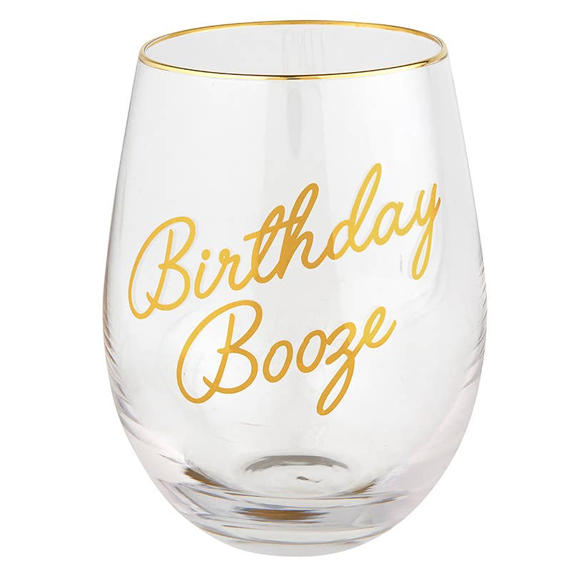 Birthday Booze Wine Glass