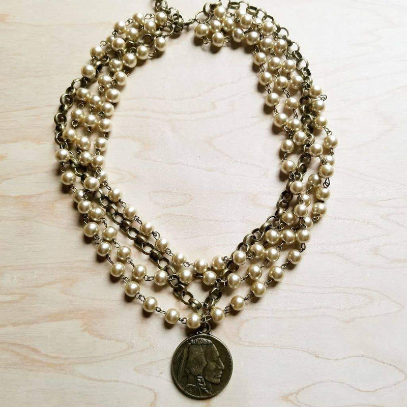Champagne Pearl Indian Head Coin Necklace-The Jewelry Junkie-Sol y Luna Salon