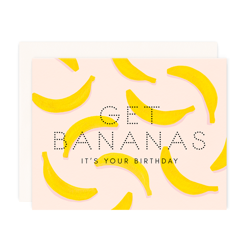 Get Bananas Birthday Greeting Card-Girl w/ Knife-Sol y Luna Salon